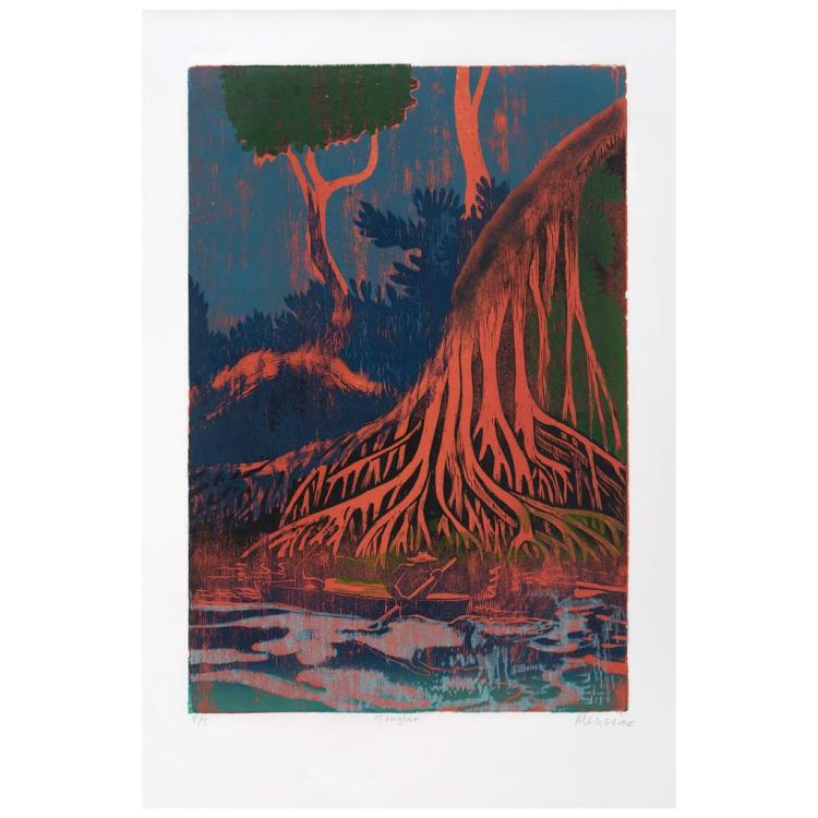 ADOLFO MEXIAC, Manglar, Signed, Woodcut P / T, 60 x 40 cm / 23.6 x 15.7 inches.
