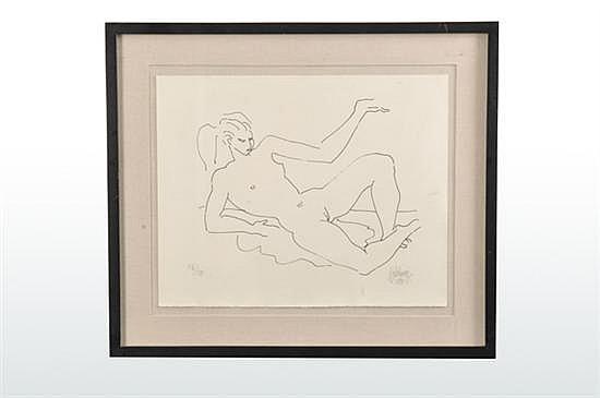 Santos Balmori Picazo (México, 1899-1992) Desnudo femenino. Serigrafía serie 72/100. Firmada. Enmarcada. Dimensiones: 38 x 48 cm.