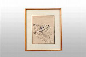 """Enrique Echeverria (1923-1972) """"Puente de San Martín"""" Carbón sobre papel. Firmado. Enmarcado. Dimensiones: 30.5 x 24 cm."""