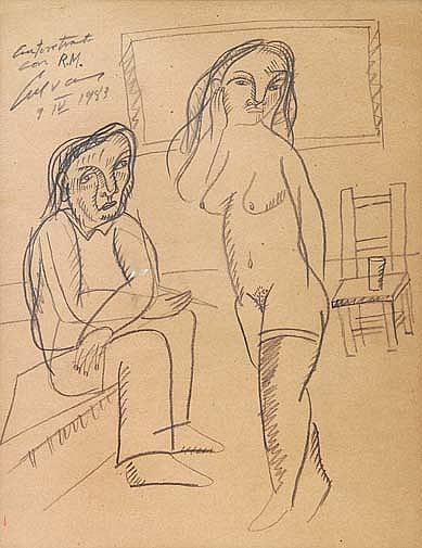 JOSÉ LUIS CUEVAS. Autorretrato con R.M. Firmado y fechado 9-IV-1983. Carbón sobre papel. 47 x 35.5 cm.