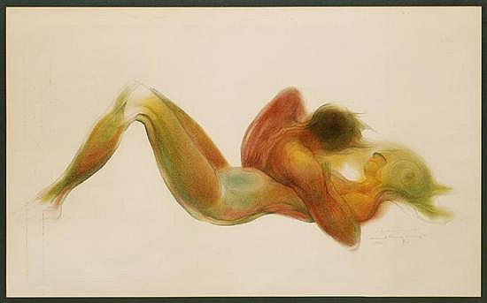 GUILLERMO MEZA, Pareja, Firmada y fechada 1969, Dibujo a lápices de color sobre papel, 56.5 x 92.5 cm, Con dedicatoria