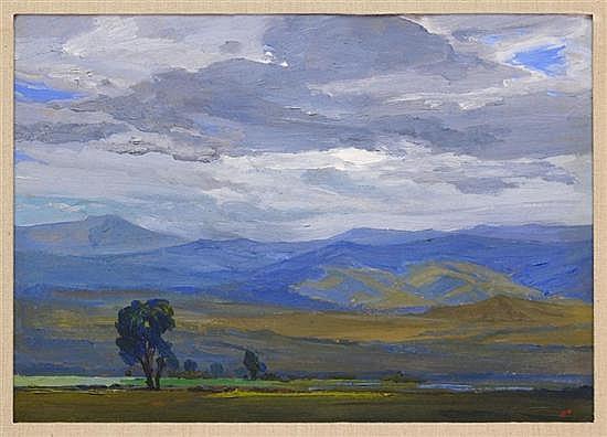 JOSÉ BARDASANO, Paisaje, Firmado, Óleo sobre masonite, 37 x 52.5 cm