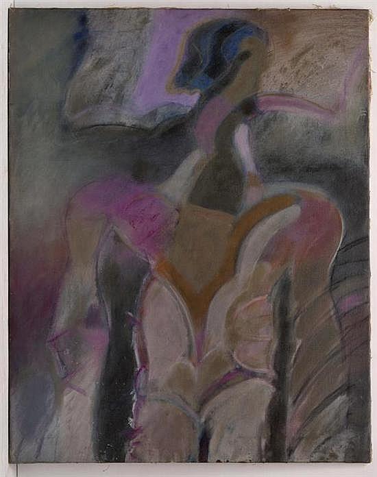 GILBERTO ACEVES NAVARRO, Hombre pájaro, Firmado 22.9.72 Méx. al reverso, Acrílico sobre tela, 125 x 100 cm, Vo. Bo. Galería Pecanins.