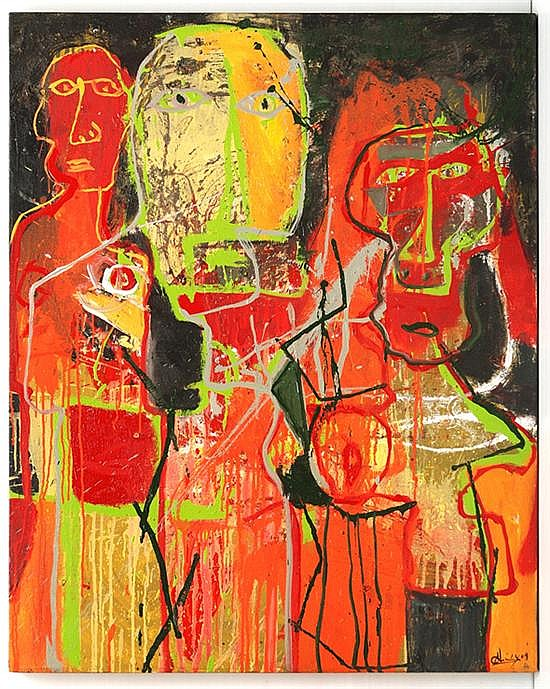 Alejandro Santiago, Three personages on Orange back, signed and dated 09, Mix on Canvas.