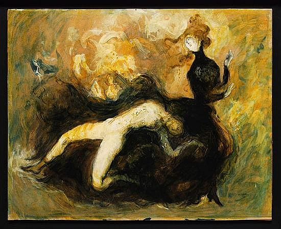 Jose Garcia Ocejo, Widow 1, Signed and dated 69, Oil on paper over wood.