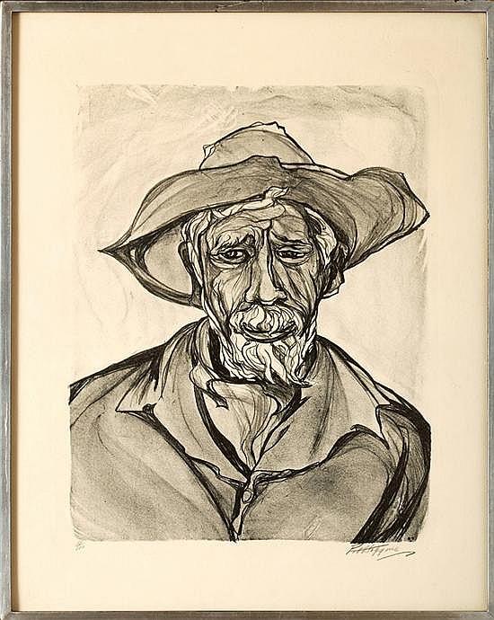 Pablo O´higgins, Men, Signed, Litography serie 33 / 100