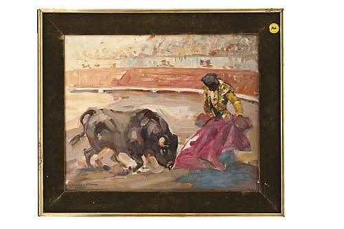 ROBERTO DOMINGO FALLOLA (PARÍS, 1883-MADRID, 1956). PASE TAURINO. Óleo obre tela. Firmado y fechado (1913). 40 x 50 cm.