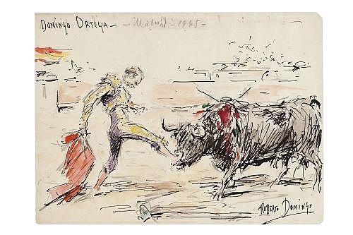 LOTE DE TRECE OBRAS TAURINAS. ROBERTO DOMÍNGO FALLOLA (PARIS,1883- MADRID,1956) PASES TAURINOS.Tinta y acuarela.15 x 21cm c/u.13 piezas