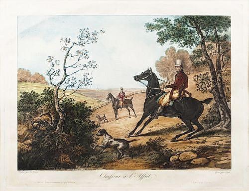 JEAN PIERRE MARIE JAZET (FRANCIA, 1788 - 1871). PAR DE GRABADOS COLOREADOS, ESCENAS DE CACERÍA. 48 x 58 cm.