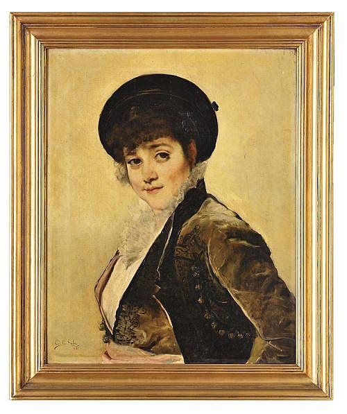 EMILIO SALA FRANCÉS. ESPAÑA ( 1850-1910)  SIGLO XIX. Óleo sobre tela. RETRATO DE NIÑA. Firmado en el ángulo inf. izquierdo. 64 x 51 cm