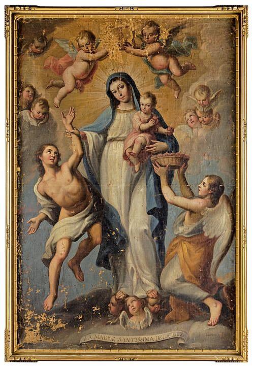 MIGUEL CABRERA (MÉXICO, 1695 - 1768). LA MADRE SANTÍSIMA DE LA LUZ. Óleo sobre tela adherido a tablero. Firmado. 202.5 x 133 cm