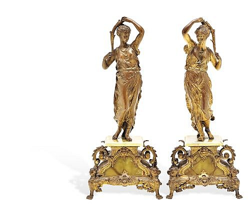 ERNEST RANCOULET (FRANCIA, 1870-1915). PAR DE ESCULTURAS FEMENINAS. Bronce dorado y alabastro. 56 x 24 x 18 cm