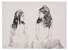 ARTURO ELIZONDO, Azucena y Marijosé, 2002, Sin firma. Lápiz sobre papel, 46 x 60 cm, Con certificado de autenticidad.