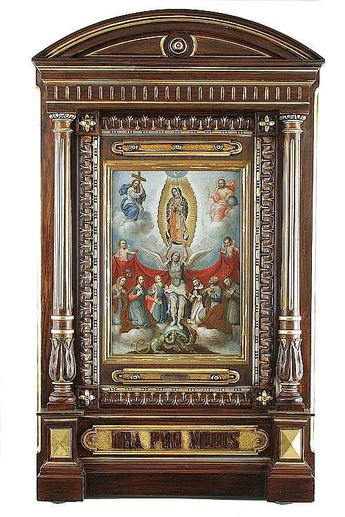 Miguel Cabrera (México, 1695 - 1768). Adoración de la Virgen de Guadalupe. Firmado y fechado 1765. Oleo/tela. 40.5 x 28.5 cm.