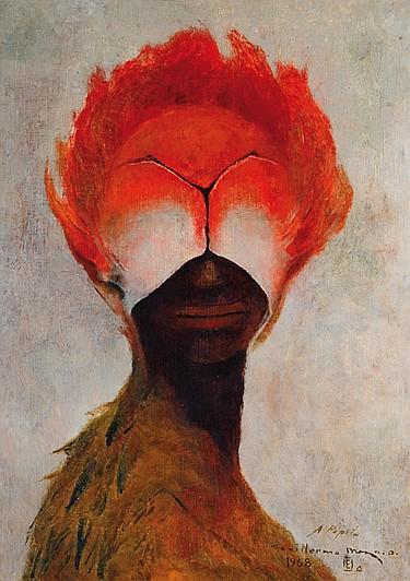GUILLERMO MEZA, Pequeña esfinge, Firmado y fechado 1968, Óleo sobre madera, 35 x 25 cm.