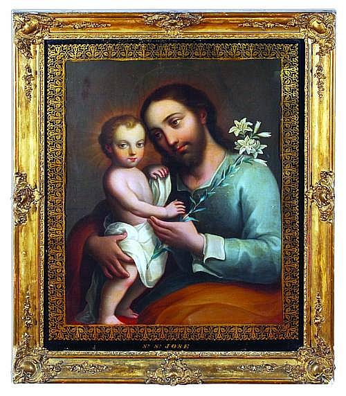 José de Paez (1720 - 1790). Origen mexicano. San José y el Niño. Firmado. Óleo sobre lienzo. 58 x 44 cm.