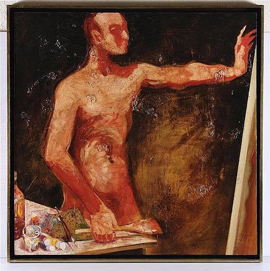 LUCIANO SPANÓ, Homenaje al Pintor, Firmado y fechado 97. Óleo sobre tela, 130 x 130 cm