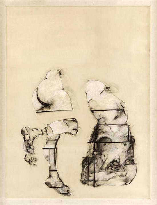 GUSTAVO ACEVES, La Caída, 1988, Sin firma. Pastel y carbón sobre papel, 150 x 114 cm