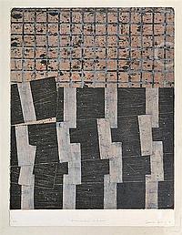 FRANCISCO CASTRO LEÑERO, El movimiento de la noche, Firmada y fechada 86. Serigrafía 6 / 30, 74 x 60 cm