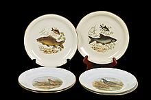 Lote de platos decorativos. Origen alemán e israelí. Elaborados en porcelana de Bavaria y Naaman. Con esmalte dorado. Piezas: 6