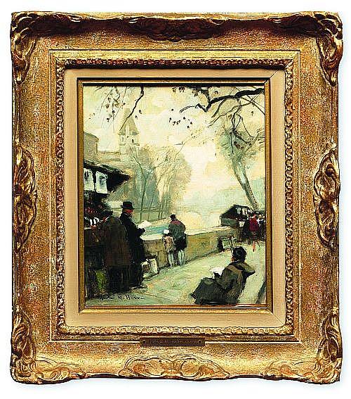 Jules René Herve (1887 - 1981). Escuela francesa. Personajes a la orilla del río. Firmado. Óleo sobre cartón. 26 x 21 cm.