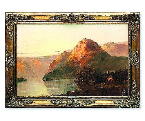 Joel Owen (act. 1892 – 1931). Paisaje montañoso con lago y cabaña. Escuela inglesa. Firmado. Ó/lienzo/tablero. 48.5 x 74.5 cm.