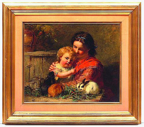 James John Hill (1811-1882). Mujer e infante con conejos. Escuela inglesa. Firmado. Óleo sobre lienzo. 62 x 75 cm.