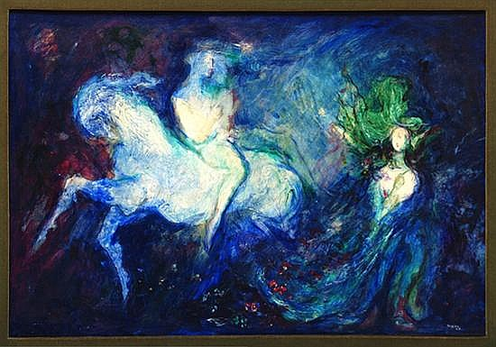 José García Ocejo, Encounter on Geminis, signed and dated 69, Oil on Canvas.