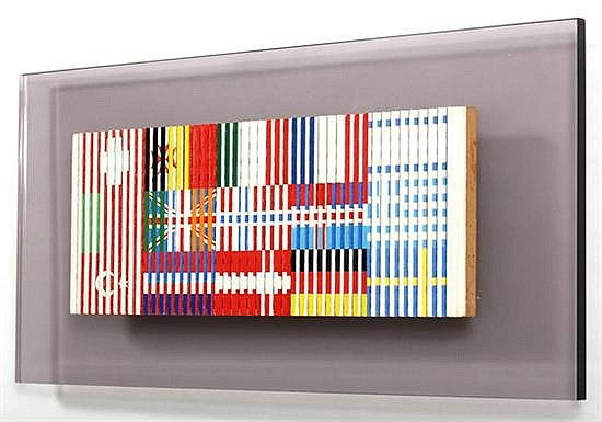 Yaacov Agam, Shalom, signed and dated in the back side at 1976 Paris, Acrylic on wood.