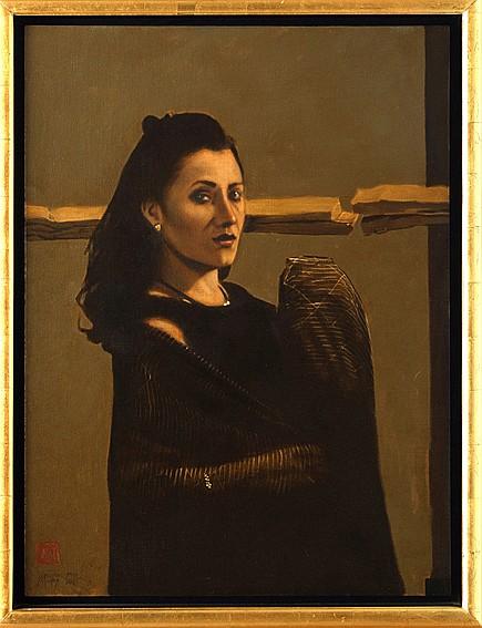Arturo Rivera, Portrait of Miss Alejandra Leonor Riego Delgadillo, signed and dated 2001, Oil on Canvas.
