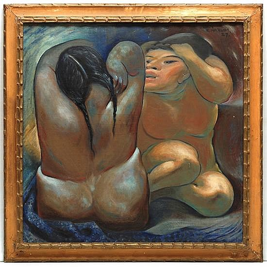 Jean Charlot, Two women, signed and dated 27, Oil on Canvas