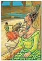 EMILIA ORTIZ, Maja y Torero, 1984, Mixta sobre cartón, 51 x 38 cm, José Bardasano Baos, Click for value