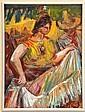 RAÚL ANGUIANO, Baile tehuantepec, Firmado y fechado 93, Óleo sobre masonite, 30 x 22 cm, Raul Anguiano, Click for value