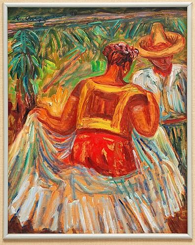 RAÚL ANGUIANO, Baile Juchitan, Firmado y fechado 1994, Óleo sobre tablero, 35 x 27.5 cm