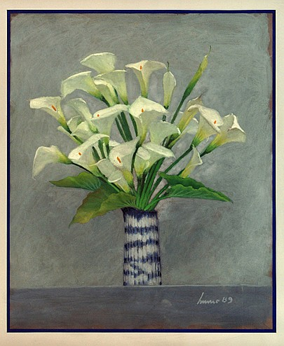 Lauro López, Vase with Alcatraces, signed and dated 89, Gouache on paper.