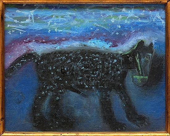 Gilberto Aceves Navarro, Dog in the stars 1987, Signed on monogram and dated 24-03-87 Mexico on the back side, 20 x 25 cms.