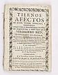 Calderón, Diego - Llagas, Francisco de las. Tiernos Afectos de Amor, Temor, Humildad y Confianza. México: 1754. Con pequeño grabado