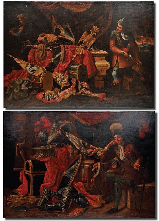 Círculo de Francesco Fieravino Il Maltese (1610 - 1680). Soldados tercios con botín de guerra. Óleo/lienzo. 95 x 134 cm c/u. Piezas: 2.