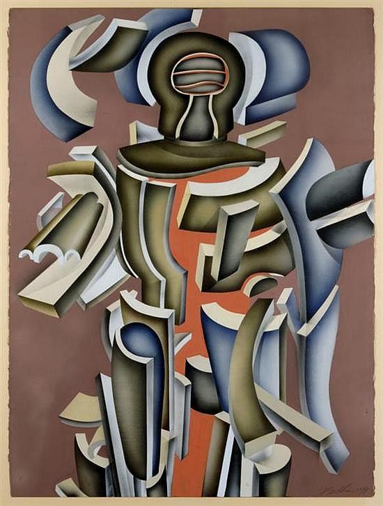 ARNOLD BELKIN, Hombre armado, Firmado y fechado 1974, Gouache sobre papel, 75.5 x 56 cm, Con etiqueta de Galería Misrachi.
