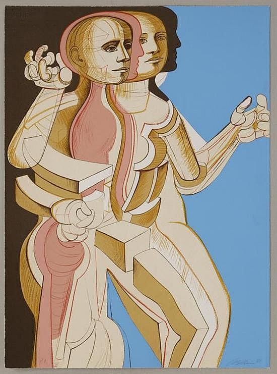 ARNOLD BELKIN, Perfiles, Firmada y fechada 81, Serigrafía P.A., 77 x 57 cm, Con sello de Taller de Enrique Cattaneo.