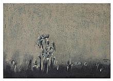 Carlos Nakatani. Vuelta. Óleo y arenas sobre tela. Enmarcado. Firmado y fechado 1976.