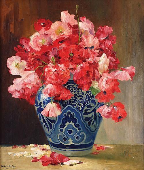 GUSTAVO MONTOYA, Flores, Firmado y fechado, 935 Óleo sobre tela, 66 x 56 cm