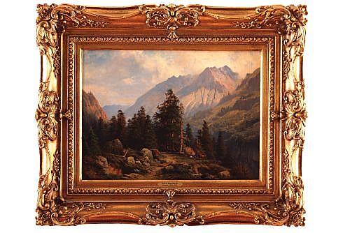 GEORG ENGELHARDT, Escuela alemana, Paisaje montañosa, 41 x 56 cm
