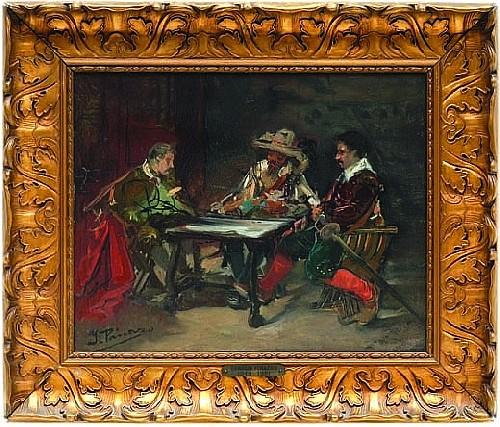 Atribuido a Ignacio Pinazo (1849 -1916). Esc. española. Mosqueteros. Firmado (frente/reveso) y fechado 1900. Óleo/lienzo. 31.5 x 39.5cm