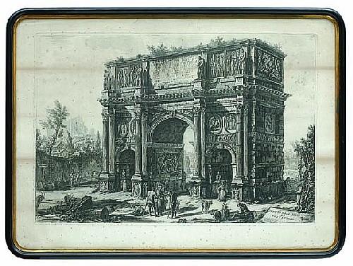 Francesco Piranesi (1758 - 1810). Escuela italiana. Piazza Navona / Arco di Constantino. S. XIX. Grabado. 46.5 x 70 cm c/u. Piezas: 2.