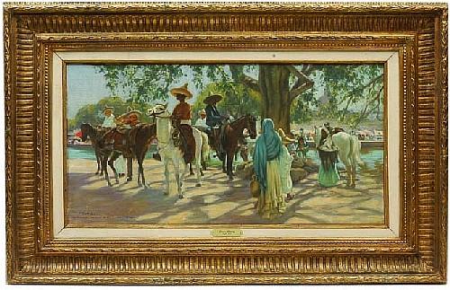 Pierre Ribera (1867 - 1932). Esc. francesa. Jane de marché. Firmado y referido Hacienda de San Gabriel (Mexique). Óleo/lienzo. 46x90 cm