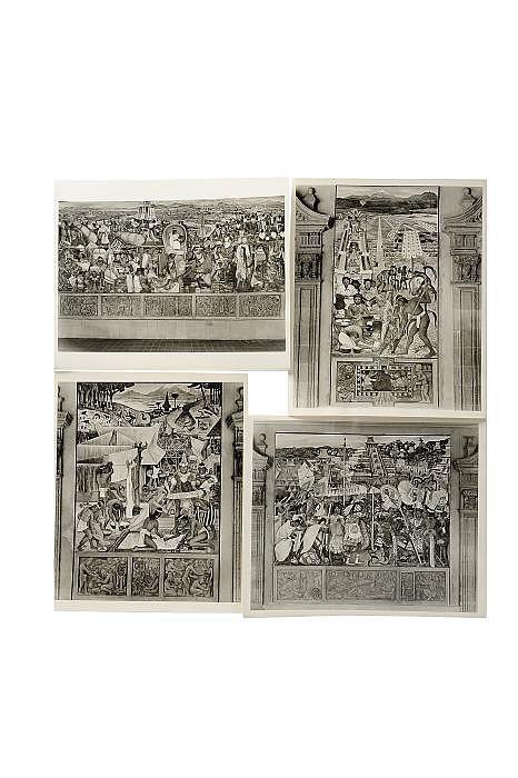 Guillermo Zamora  (1915 - 2002). Fotografías. Murales del Palacio Nacional pintados por Diego Rivera. 20.5 x 25 y...