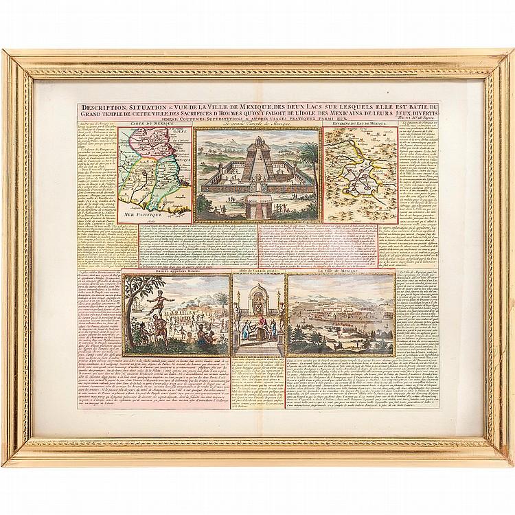 Chatelain, Henry Abraham. Description, Situation & Vue de la Ville de Mexique, des Deux Lacs sur lesquels... Amsterdam, ca. 1719.