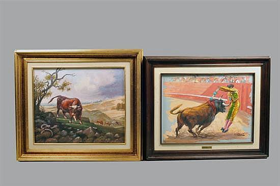 David Cárdenas Melgoza. México, Siglo XX. Óleos sobre lienzo. Consta : a) Sin título (Toro y Serpiente). b) Sin título (Banderillero).