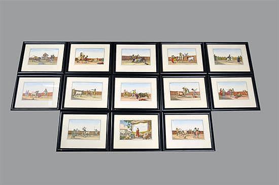 Luis Fernández Noseret. Colección de las principales suertes de una corrida de toros. Grabados coloreados sobre papel. Piezas: 13